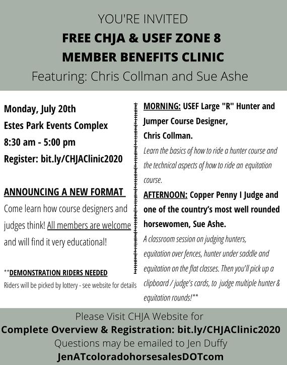 Free CHJA & USEF ZONE 8 MEMBER BENEFITS CLINIC